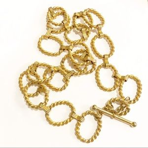 Chain Belt Or Necklace Toggle Closure Goldtone
